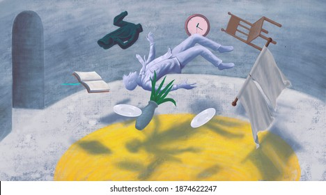 Depressed man in surreal room, lonely businessman, conceptual artwork, painting illustration, loneliness concept