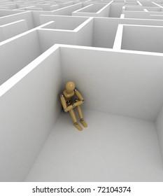 Depressed mannequin sitting in the corner of a big maze