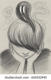 Depressed sad teenager with dark thoughts, concept artwork