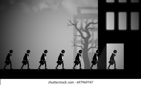 Depressed white-collar workers marching to their daily office jobs. Conceptual illustration with a dark, dystopian feel.