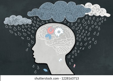 Depression Concept with Heavy Rain directly aimed at depressive Human Profile with a broken Brain. Illustrated with Chalk on Blackboard