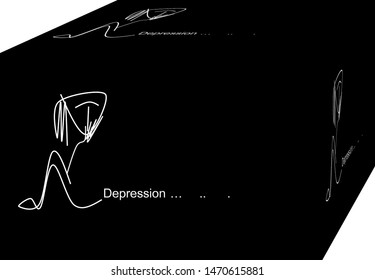 Depression.  Despair, loss, meaninglessness, hopelessness, defeat, failure, fear, fear of stress. Background. 3D illustration.