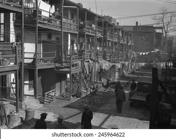 Depression era slums in Washington D.C. African American men in the backyards of three story row houses. Nov. 1935.
