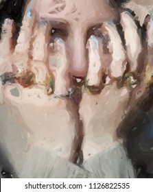 Depression. Portrait of a girl covering her face.  Painting.