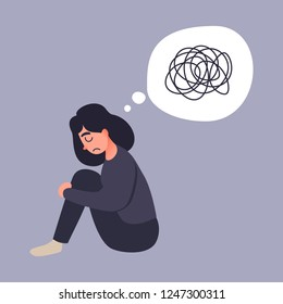 Depression woman sit on the floor. Young woman confused. Anxiety disorder. Insane messy line.