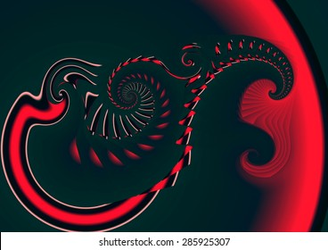 in the depths of the sun, illustration, spirals twist,  abstract expressionism, abstract surrealism, digital art, red, black,