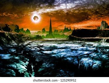 Derelict alien city in distance on cracked rocky landscape.