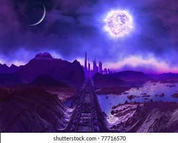 Derelict Railway Track to Alien City Ruins