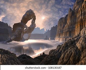 Derelict Spaceship on Alien World