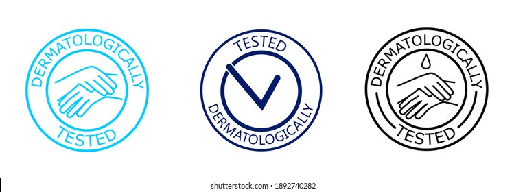 Dermatologically tested raster label with water drop, check mark and hand logo. Dermatology test and dermatologist clinically proven icon for allergy free and healthy safe product package tag