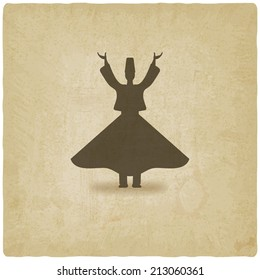 dervish dancer old background -  illustration