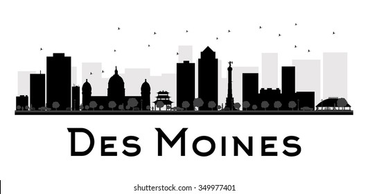 Des Moines City skyline black and white silhouette. Simple flat concept for tourism presentation, banner, placard or web site. Business travel concept. Cityscape with famous landmarks