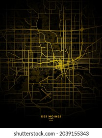 Des Moines, Iowa, United States City Map - Des Moines City Gold Map Poster Wall Art - Des Moines City in United States Art Print