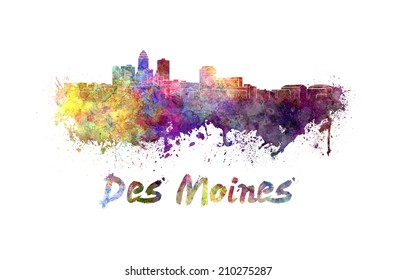 Des Moines skyline in watercolor splatters with clipping path