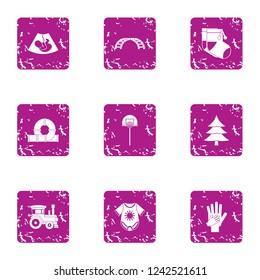 Descendant icons set. Grunge set of 9 descendant icons for web isolated on white background