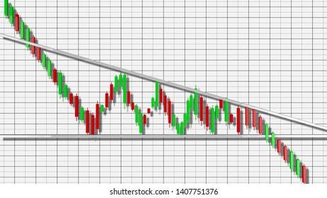 Descending Triangle Stock Chart Pattern 3D Illustration