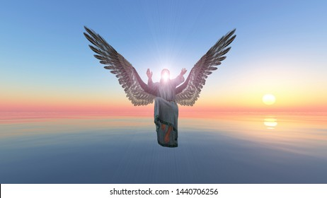 The descent of Archangel Gabriel, Heavenly Angel, Angel is giving energy to you at Sunrise , Ocean at sunrise, 3D Render