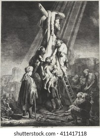 Descent from the Cross, by Rembrandt van Rijn, 1633, Dutch print, etching on paper. Christ taken down from the cross, by Nicodemus and Joseph of Arimathaea who are standing on the ladders
