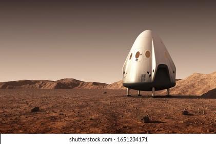 Sinkmodul für kommerzielle Raumfahrzeuge auf der Oberfläche des Planeten Mars. 3D-Illustration.