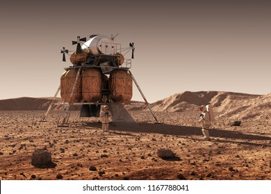 Descent Module Of Interplanetary Space Station And Astronauts On Surface Of Planet Mars. 3D Illustration.