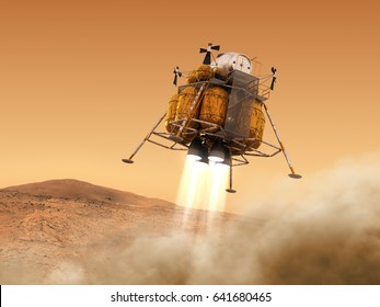 Descent Module Of Interplanetary Space Station Landing on Planet Mars. 3D Illustration.