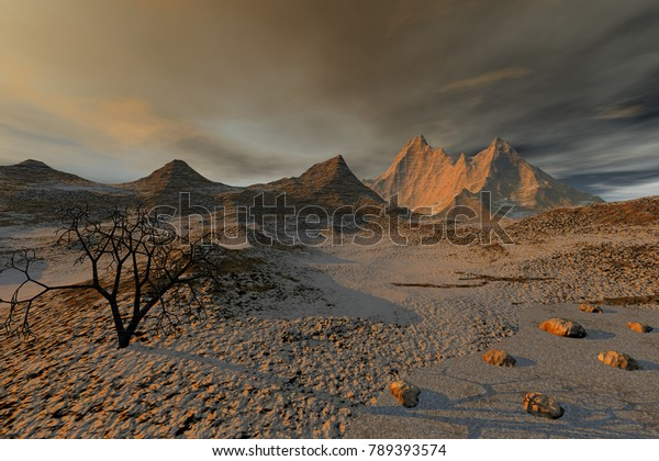 Desert, 3D rendering, a beautiful  landscape, a black tree, stones on the ground and a cloudy sky.