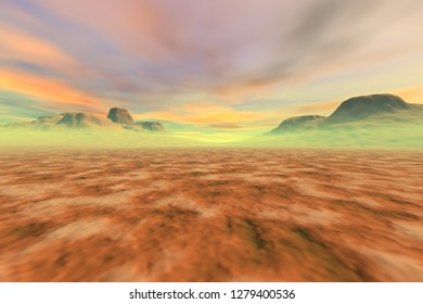 Desert, 3d rendering, a martian landscape, fine haze in the mountains, big rocks and a fantastic sky with colored clouds.