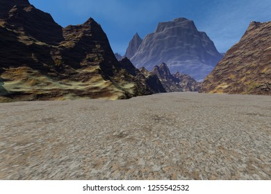 Desert, 3d rendering, a rocky landscape, dirt road to the mountains and daylight above the rocks, the sky is blue with few clouds.