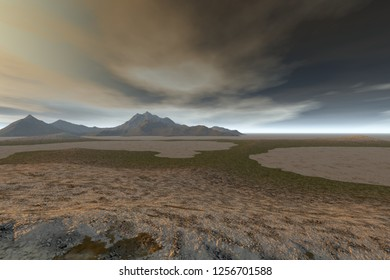 Desert, 3d rendering, a rocky landscape, dry ground, a dark mountain and a cloudy sky.
