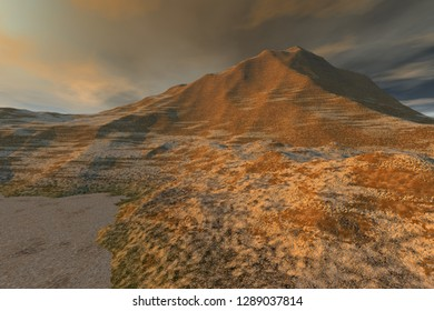 Desert, 3d rendering, a rocky landscape, dry ground and cloudy sky.