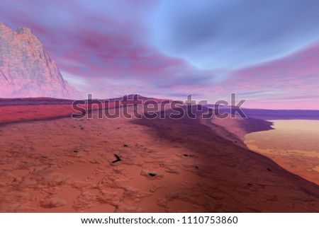 Desert, 3d rendering, a rocky landscape, geological forms on the ground and red clouds in the sky.