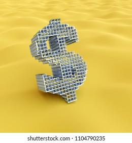desert dollar - rendered 3d image