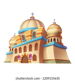 Desert Emirates Palaces, Arabian Architecture. Game Assets, Card Object, Buildings isolated on Black Background. Video Game's Digital CG Artwork, Concept Illustration, Realistic Cartoon Style Design