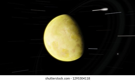 Desert exoplanet with rings 3D illustration (Elements of this image furnished by NASA)
