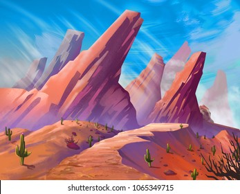 The Desert with Fantastic, Realistic and Futuristic Style. Video Game's Digital CG Artwork, Concept Illustration, Realistic Cartoon Style Scene Design