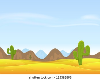 Desert Landscape Background/ Illustration of a cartoon desert landscape with cactus, sand dunes, curved mountains range over a blue sky