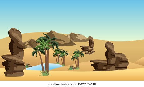 Desert landscape background with oasis. Sand dunes, lake and palms in oasis, rocks.  Cartoon or adventure game asset background.