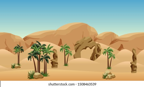 Desert landscape background. Scene for cartoon, game asset or wallpapers. Parallax ready with some layers. Sand dunes, mountains and rocks, palms.
