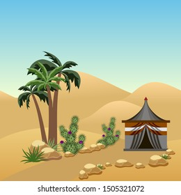 Desert landscape with a nomad tent. Cartoon or game asset scene background with parallax layers. Sand dunes, Bedouin tent, palms, cactuses.
