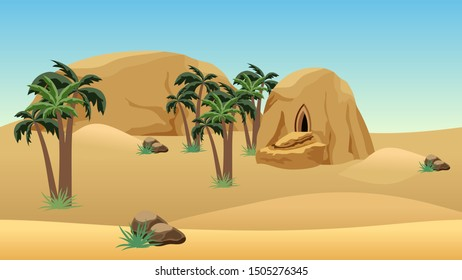 Desert landscape scene for cartoon or game background. Forgotten desert city in sandy rocks for game asset or level location. Sand dunes, mountains, palms.