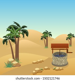 Desert landscape scene with a well in the middle of sands. Cartoon or game asset background. Sand dunes, palms, stones, well.