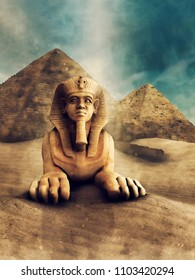 Desert landscape with a stone statue of a sphinx and ancient Egyptian pyramids. 3D illustration.