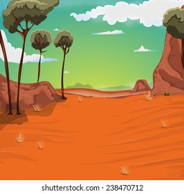 Desert Location cartoon.