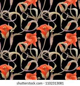 Desert Mariposa Lily black pattern. Flowers, buds and fruit on a black background