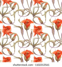 Desert Mariposa Lily black pattern. Flowers, buds and fruit on a white background