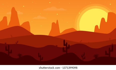 Desert mountains. Cartoon desert landscape with cactus. West of the sun in the desert.