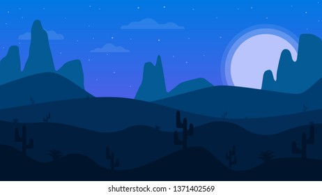 Desert mountains. Cartoon desert landscape with cactus. Night in the desert.