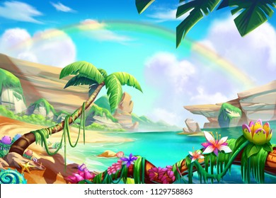 Desert, Oasis and Mountain, River with Fantastic, Realistic Style. Video Game's Digital CG Artwork, Concept Illustration, Realistic Cartoon Style Scene Design