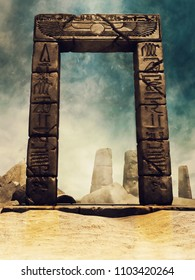 Desert ruins of an ancient Egyptian temple with a stone arch with hieroglyphs. 3D illustration.