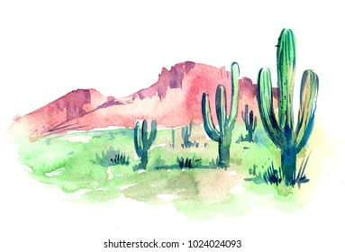 Desert of South America with cacti. Prairie landscape. Hand drawn watercolor illustration